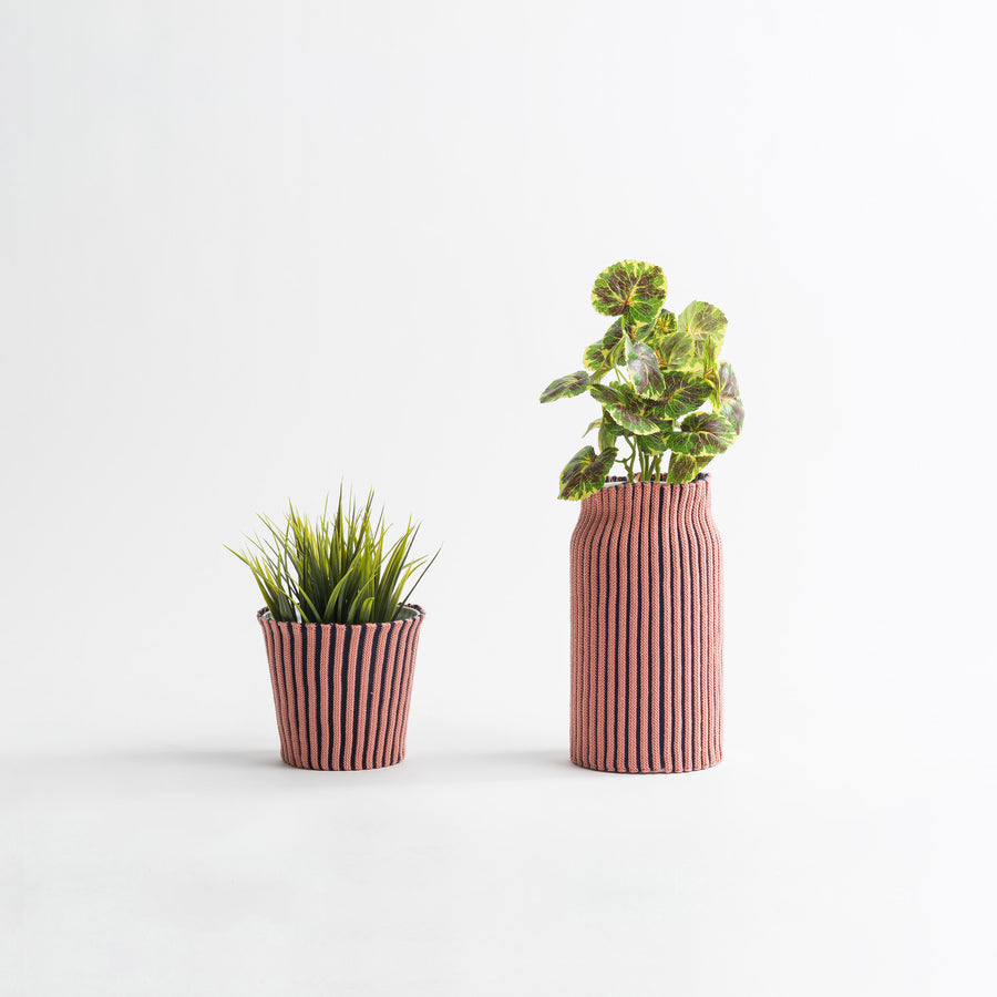 Navy Pink | Rib Stripe Stretch Eco Planter Sleeve