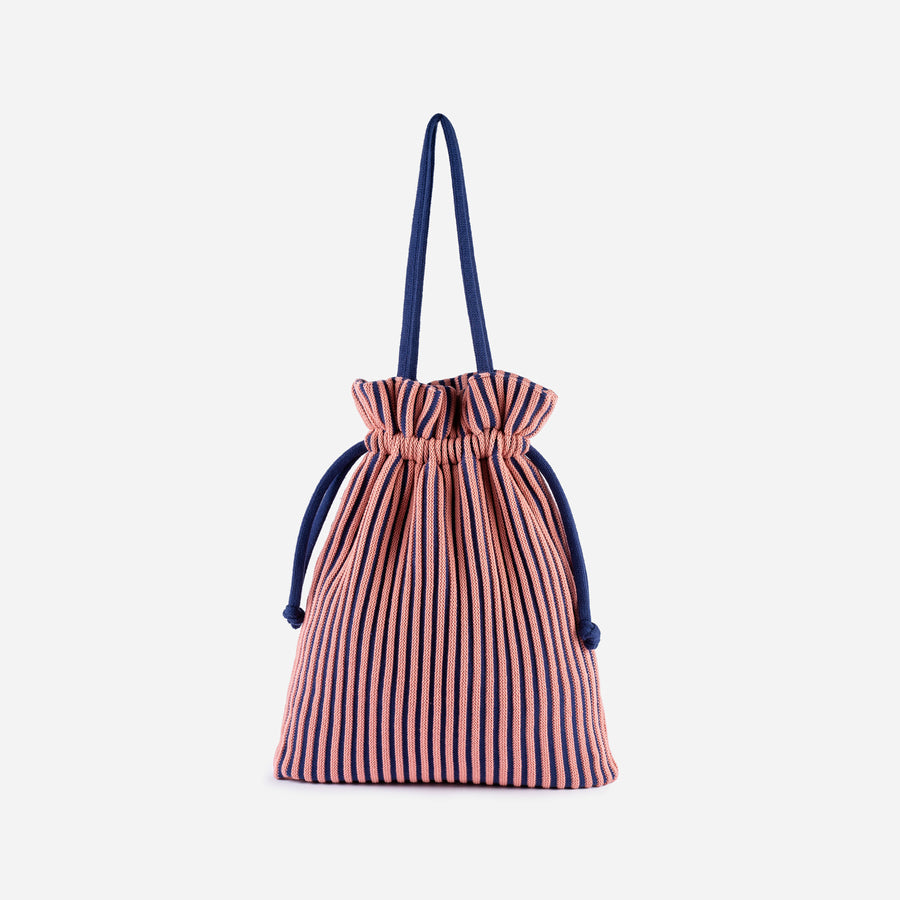Navy Pink | Rib Cord Drawstring Tote Knit Multi Color Repurposed
