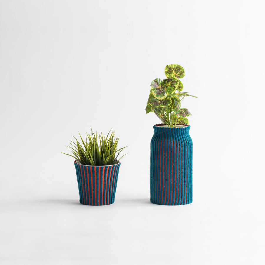 Teal Poppy | Rib Plant Sleeve Stripe Stretch Eco