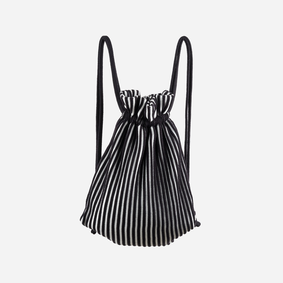 Black White | Rib Drawstring Backpack Stripe