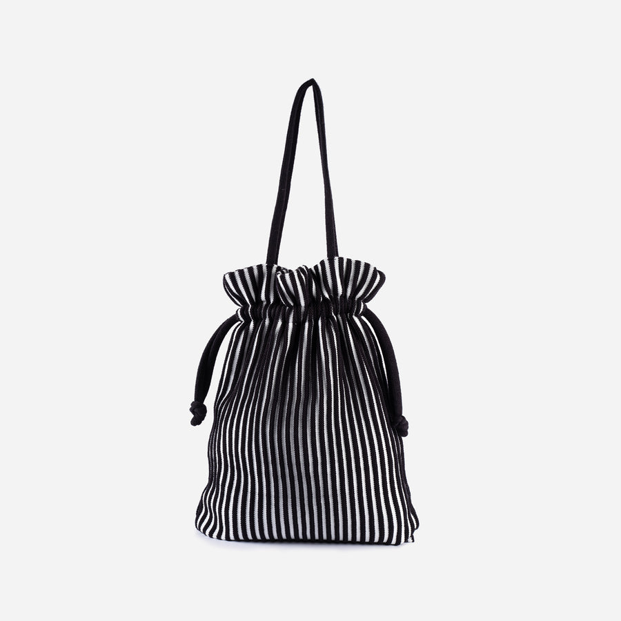 Black White | Rib Cord Drawstring Tote Knit Multi Color Repurposed