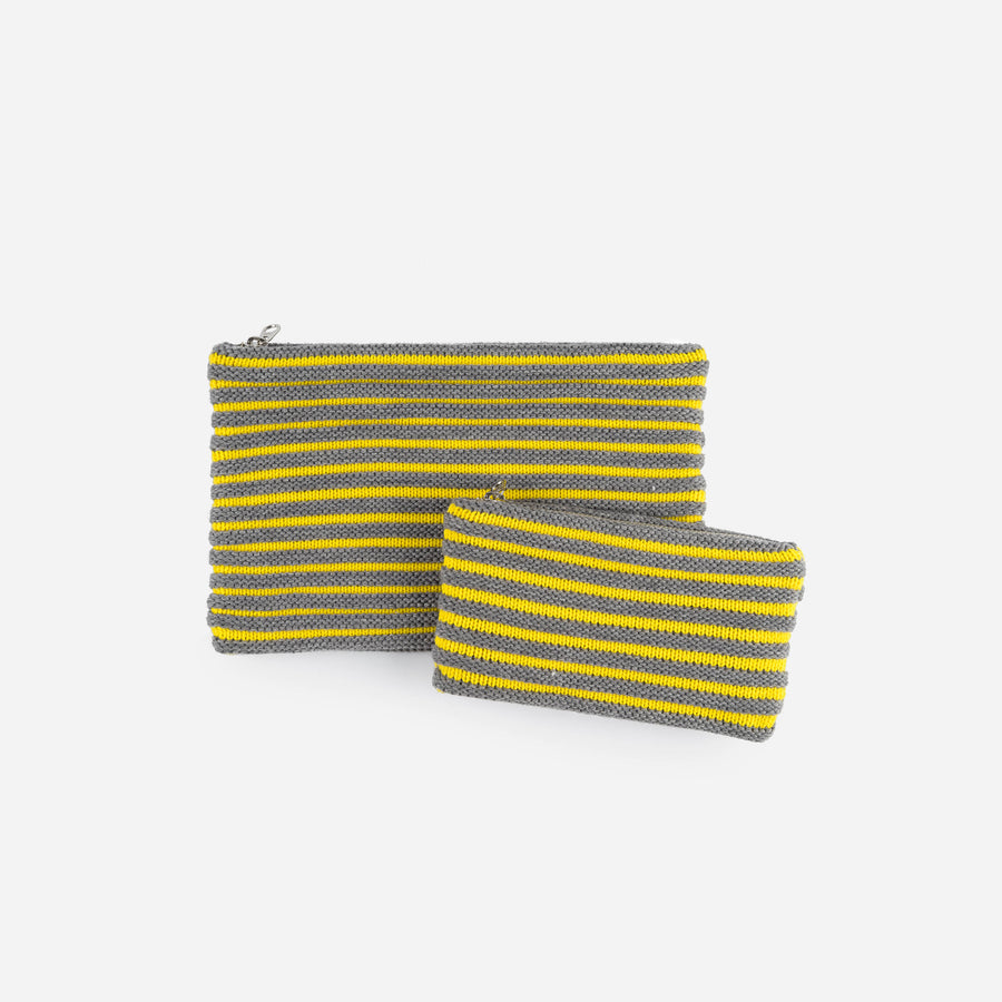 Grey Yellow | Rib Pouch Stripe Zip Set