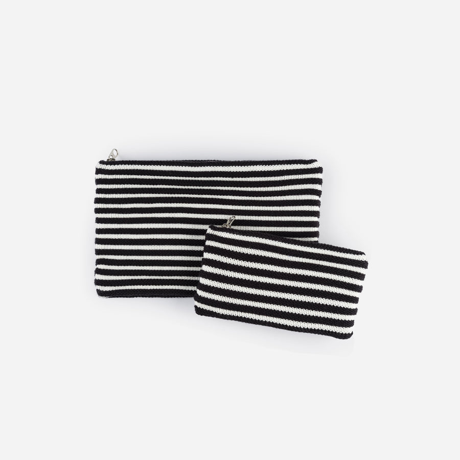 Black White | Rib Pouch Stripe Zip Set