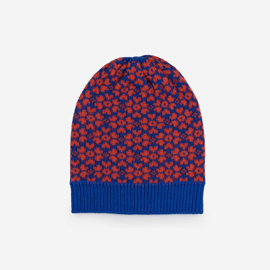 Blue | Sakura Floral Pattern Knit Hat