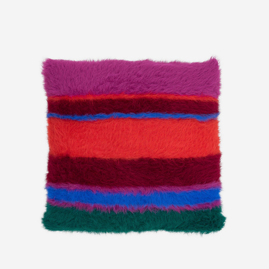 Poppy Magenta | Fuzzy Faux Fur Stripe Pillow Furry