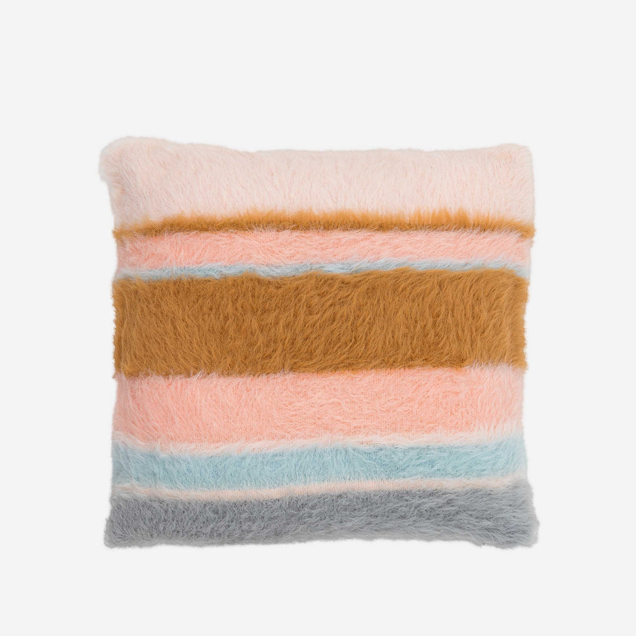 Pastels | Fuzzy Faux Fur Stripe Pillow Furry