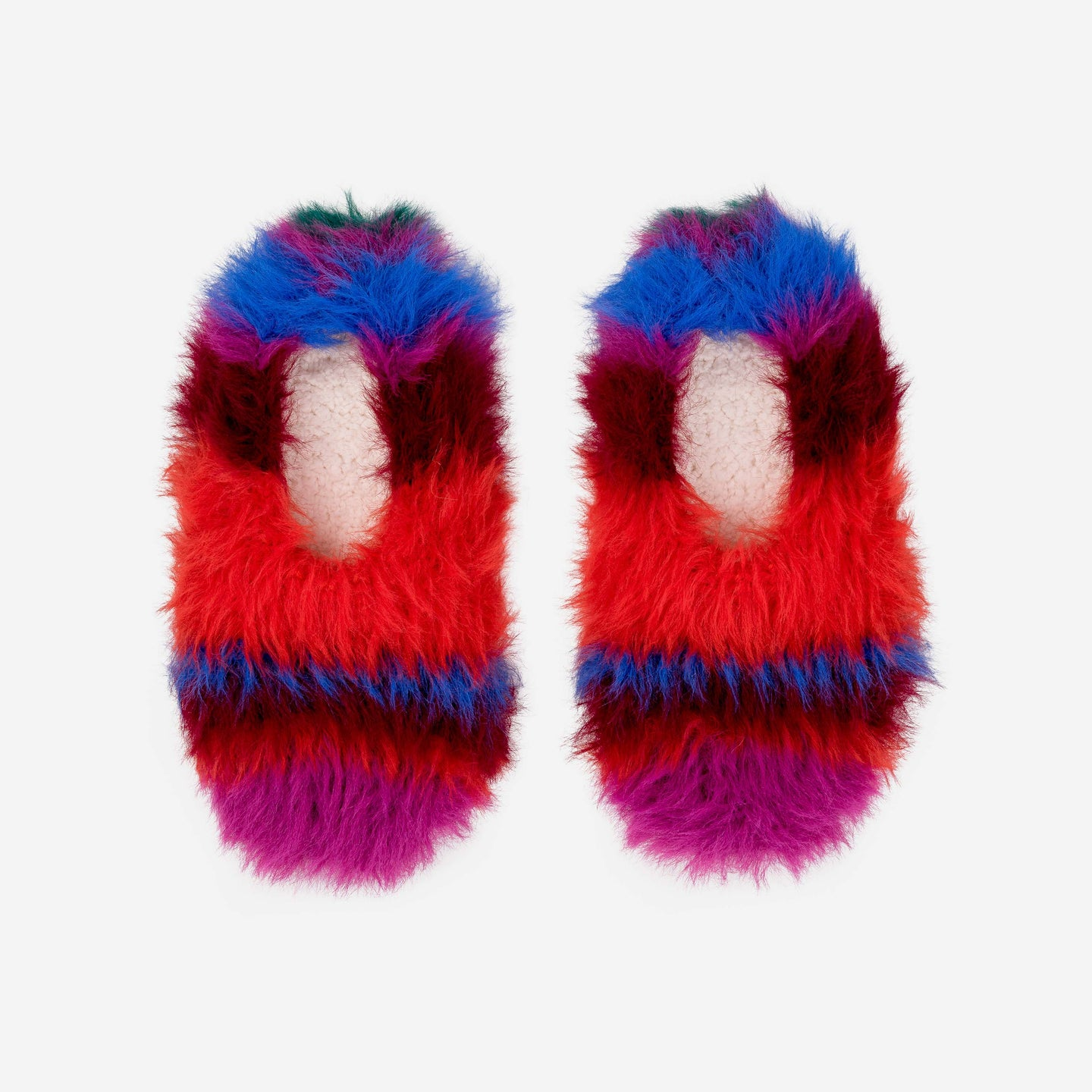 Faux Fur Stripe Slippers