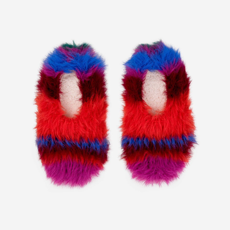 Striped Faux Fur Slippers