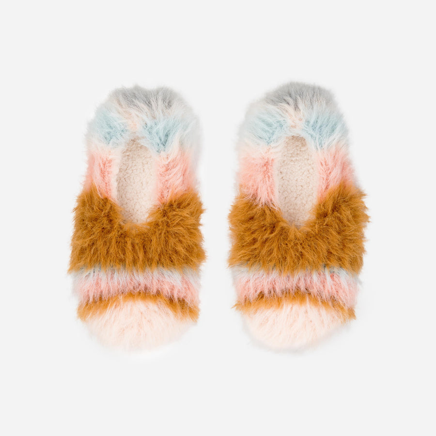 Pastels | Faux Fur Stripe Slippers