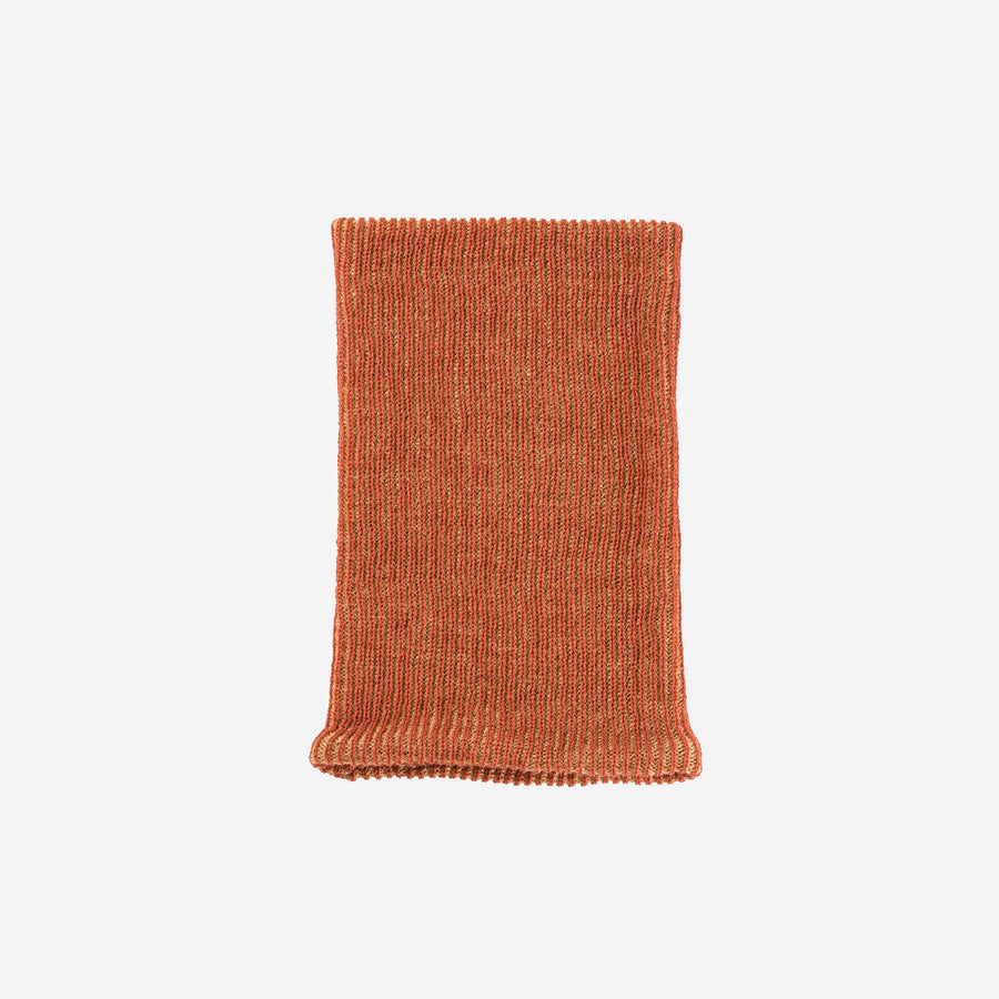 Rust | Simple Rib Snood Knit Tube Stretch Soft Scarf