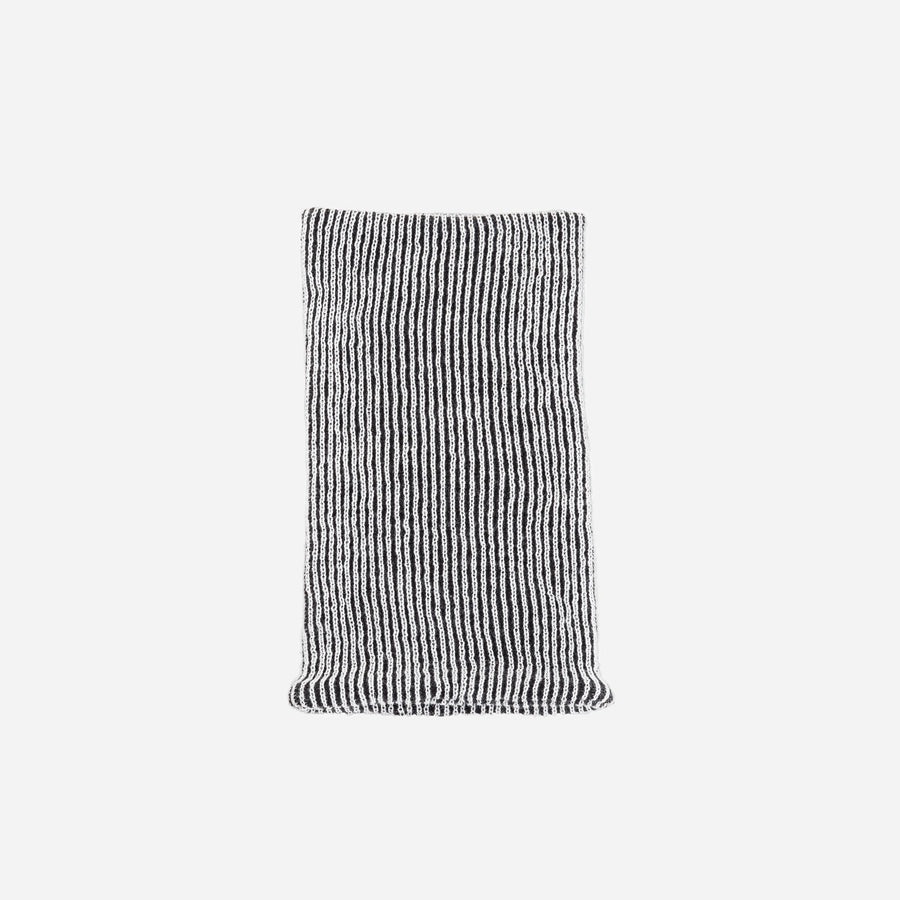 Black White | Simple Rib Snood Knit Tube Stretch Soft Scarf