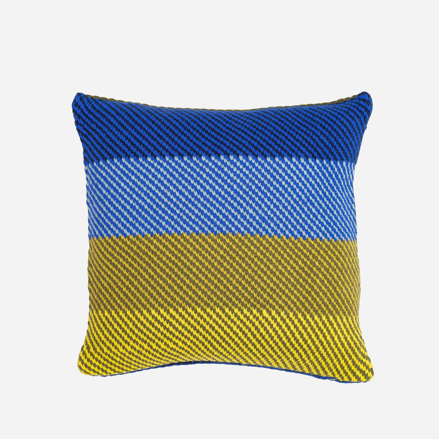 Blue Lime | Slant Stripes Diagonal Knit Pillow Cover Gradient