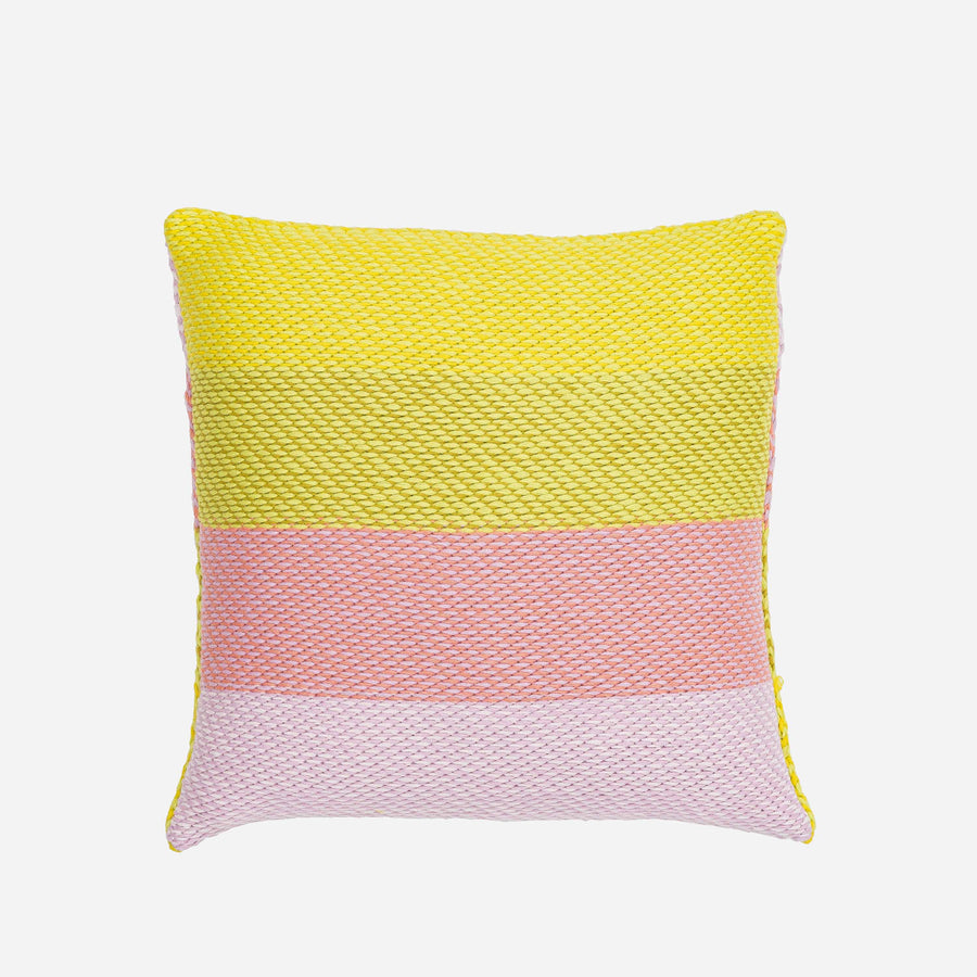 Yellow Pink | Slant Stripes Diagonal Knit Pillow Cover Gradient