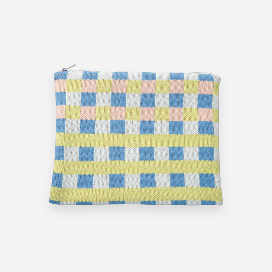 Blue | Checkered Large Zip Pouch Square Square