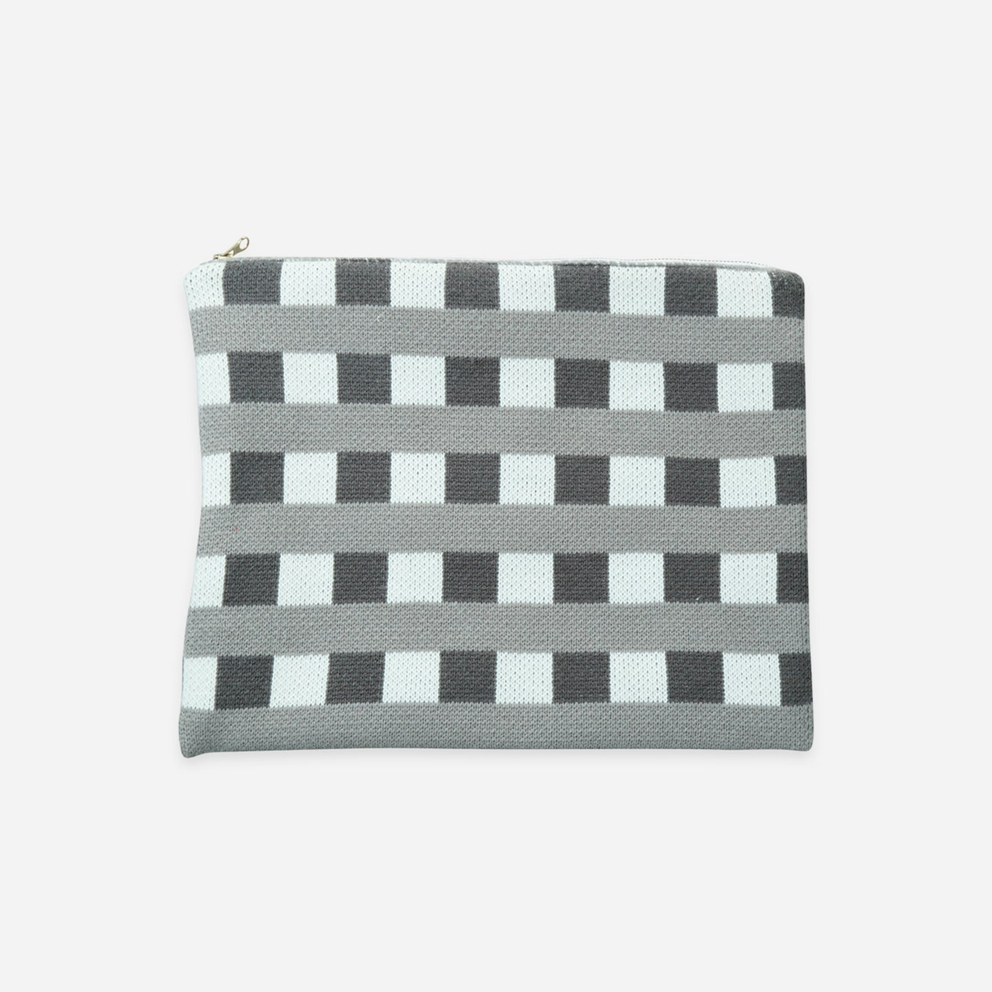 Checkered Large Zip Pouch Square Square