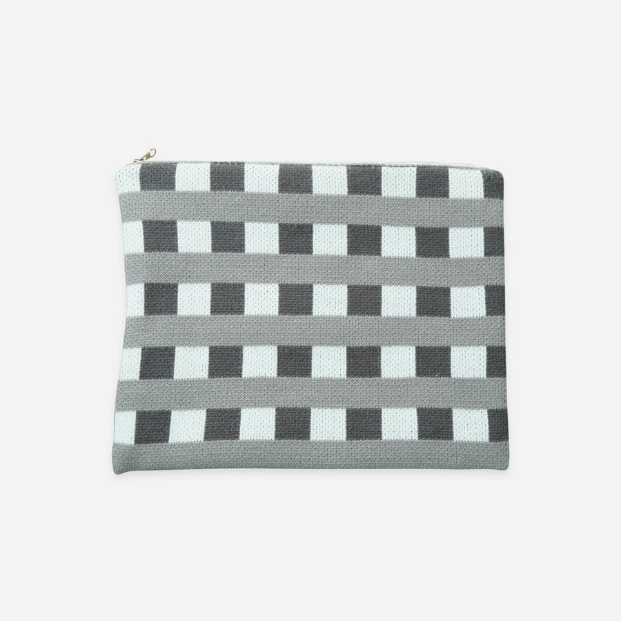 Grey | Checkered Large Zip Pouch Square Square