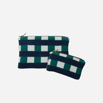Navy | Checkered Bag Zip Pouch