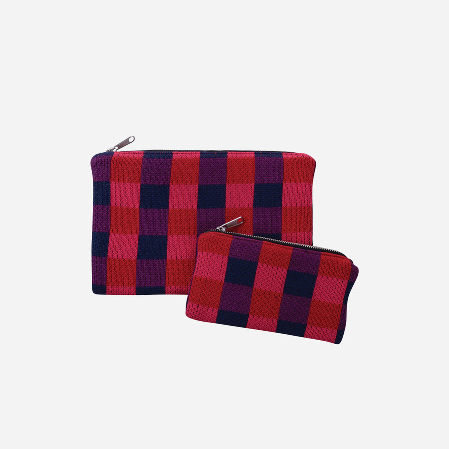 Red | Checkered Bag Zip Pouch