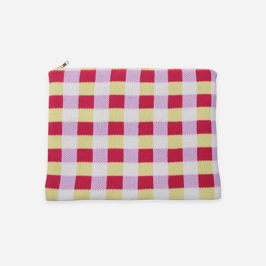 Yellow | Checkered Large Zip Pouch Square Square