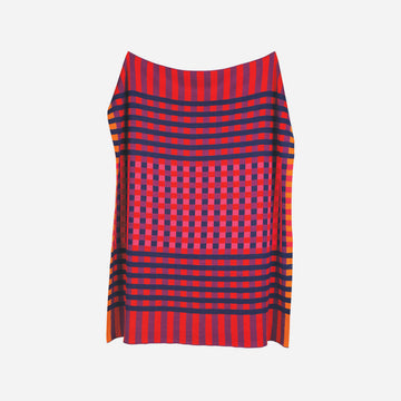Red | Square Square Checkerboard Knit Throw
