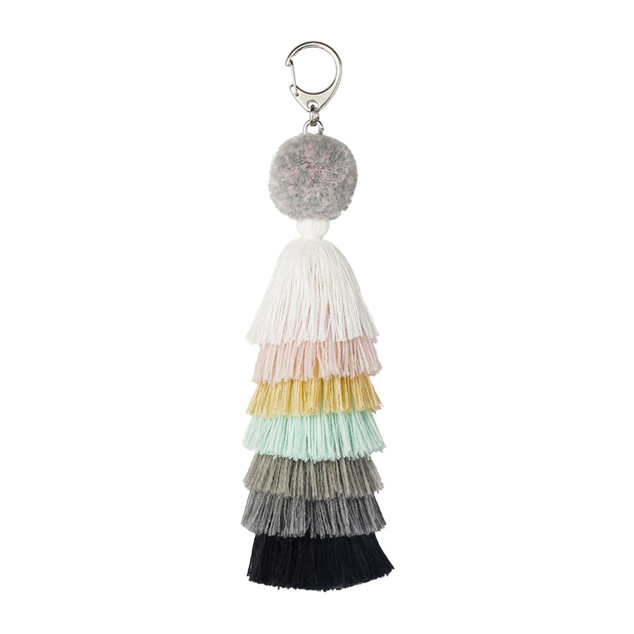 Pale Neutrals | Stacked Tassel Chain Charm