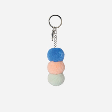 Stone Blue | Stacked Pom Key Chain Charm