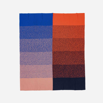 Navy Red | Sunrise Sunset Gradient Ombre Knit Throw Blanket