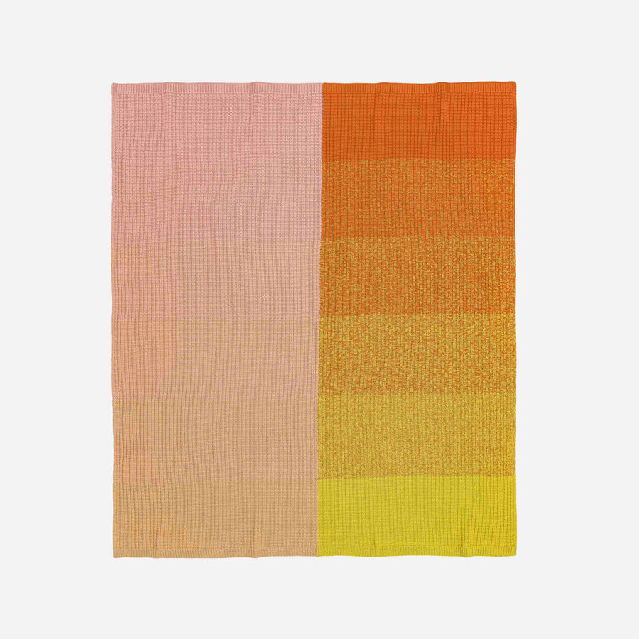Yellow Pink | Sunrise Sunset Gradient Ombre Knit Throw Blanket