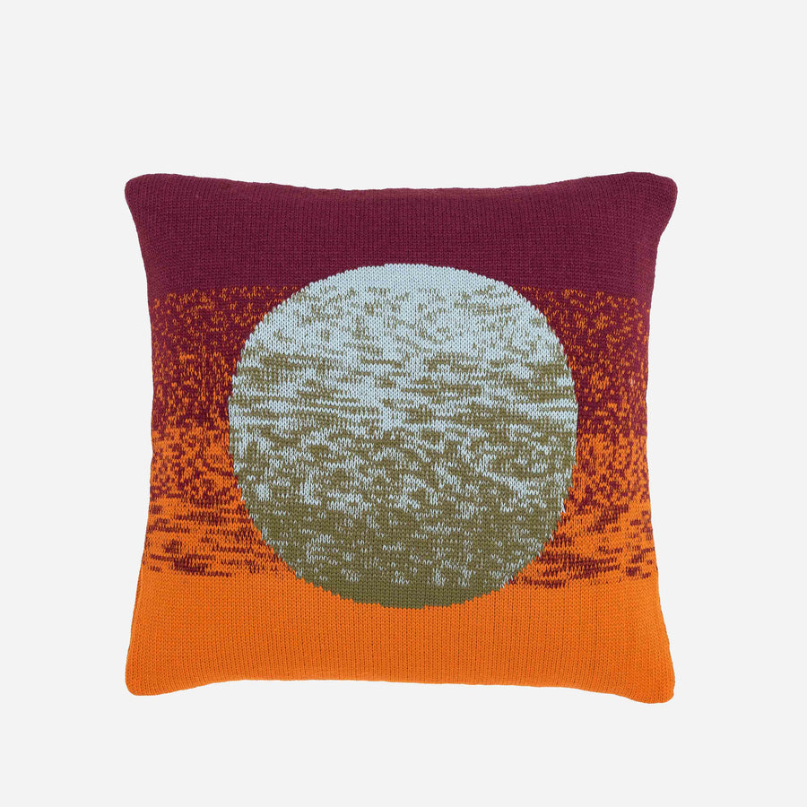 Stone Blue Wine | Sunrise Sunset Circle Gradient Ombre Stripe Pillow Case