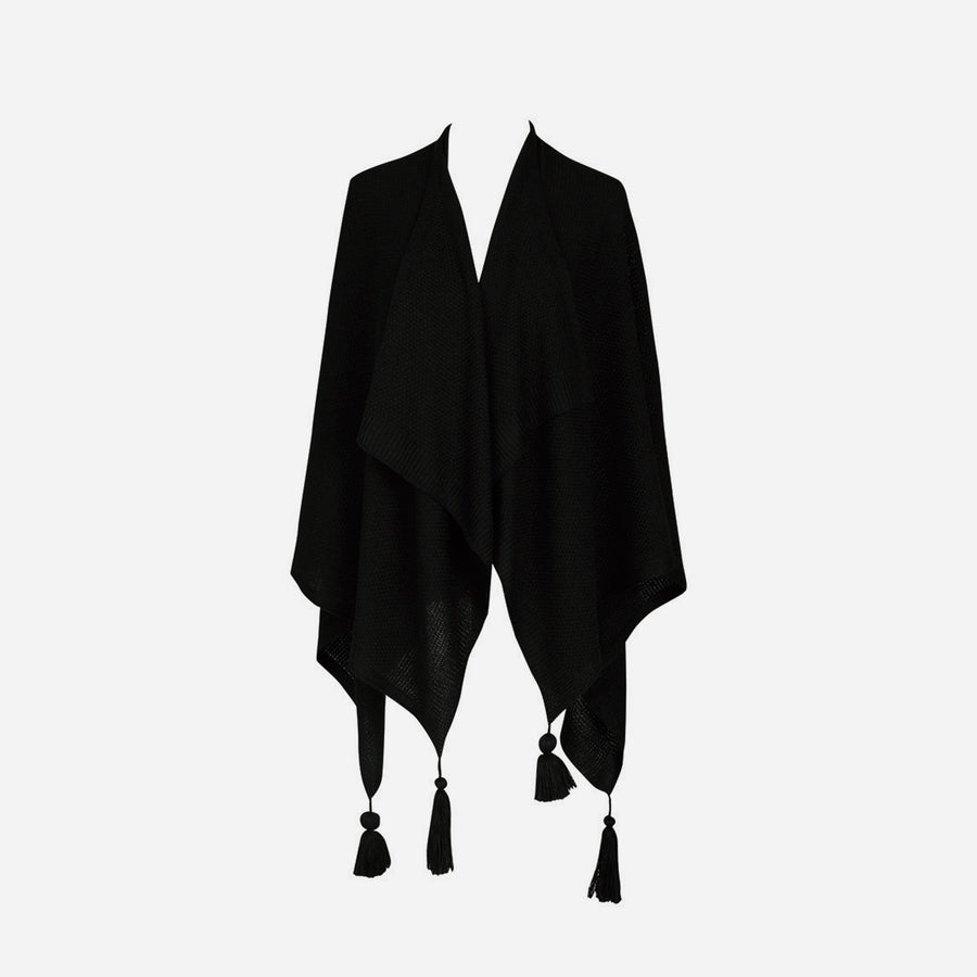 Black | Essential Travel Wrap Tassel Solid Color Ruana Poncho
