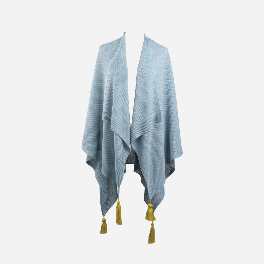 Stone Blue | Essential Tassel Wrap Ruana Solid Color