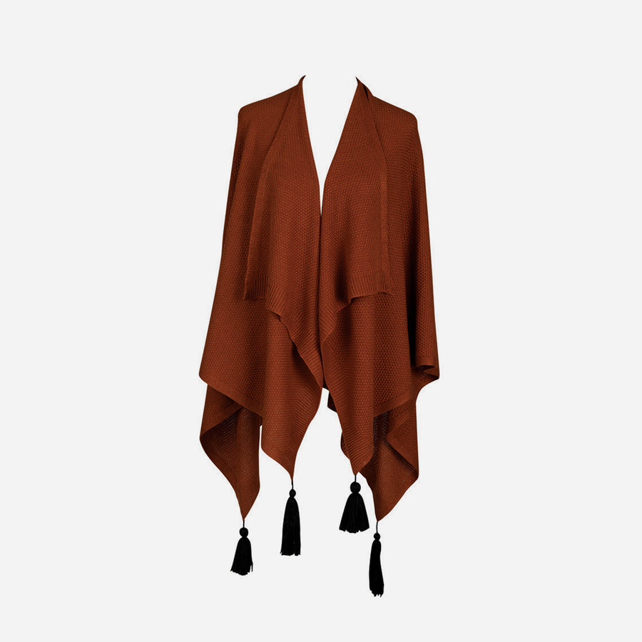 Rust | Essential Travel Wrap Tassel Solid Color Ruana Poncho