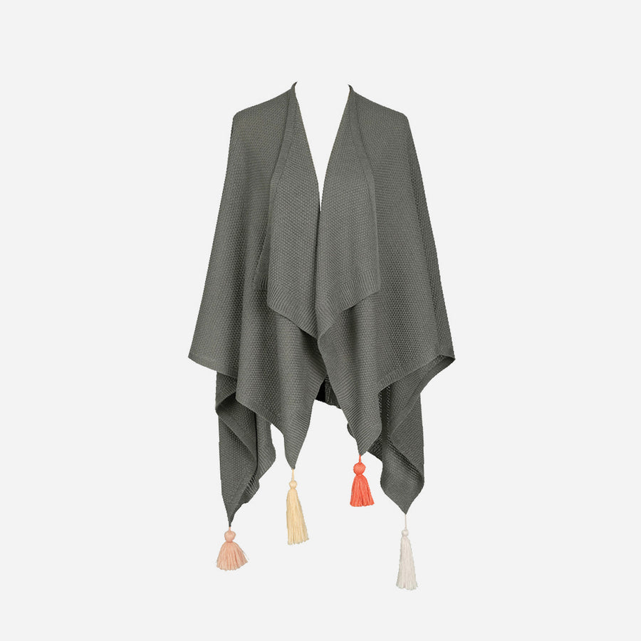 Grey | Essential Travel Wrap Tassel Solid Color Ruana Poncho