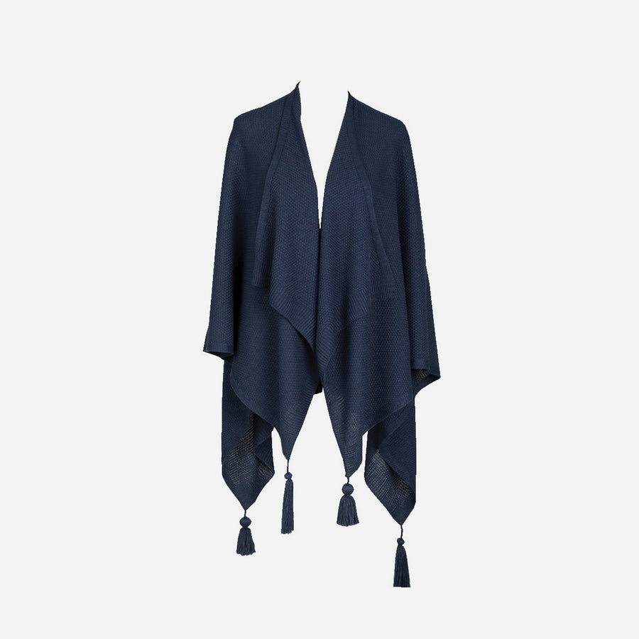 Navy | Essential Travel Wrap Tassel Solid Color Ruana Poncho