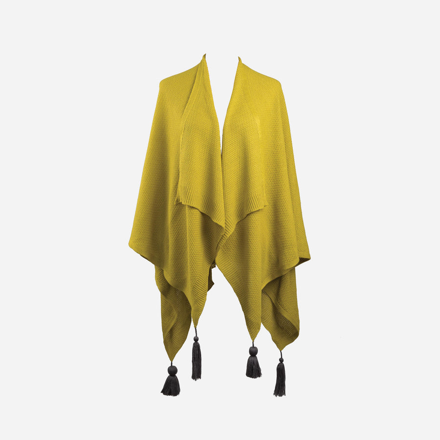 Olive Yellow | Essential Travel Wrap Tassel Solid Color Ruana Poncho