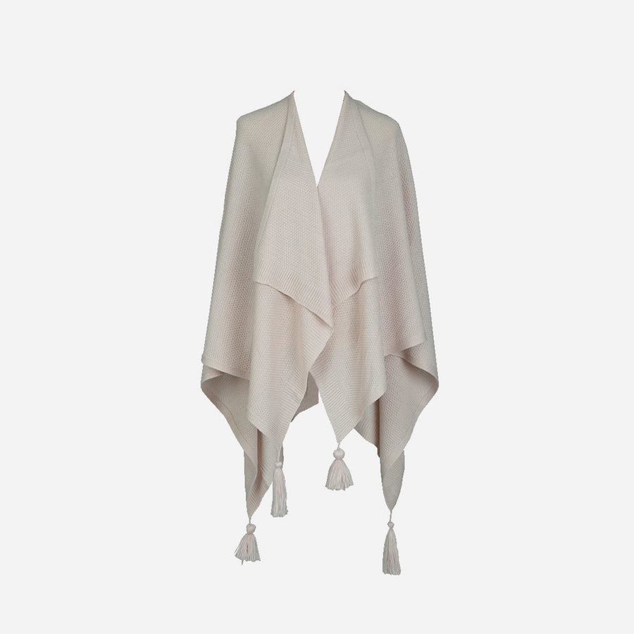 Mineral Pink | Essential Travel Wrap Tassel Solid Color Ruana Poncho