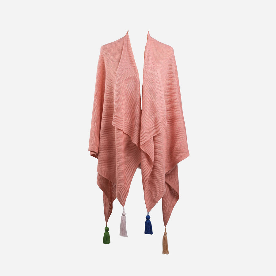 Pink | Essential Travel Wrap Tassel Solid Color Ruana Poncho