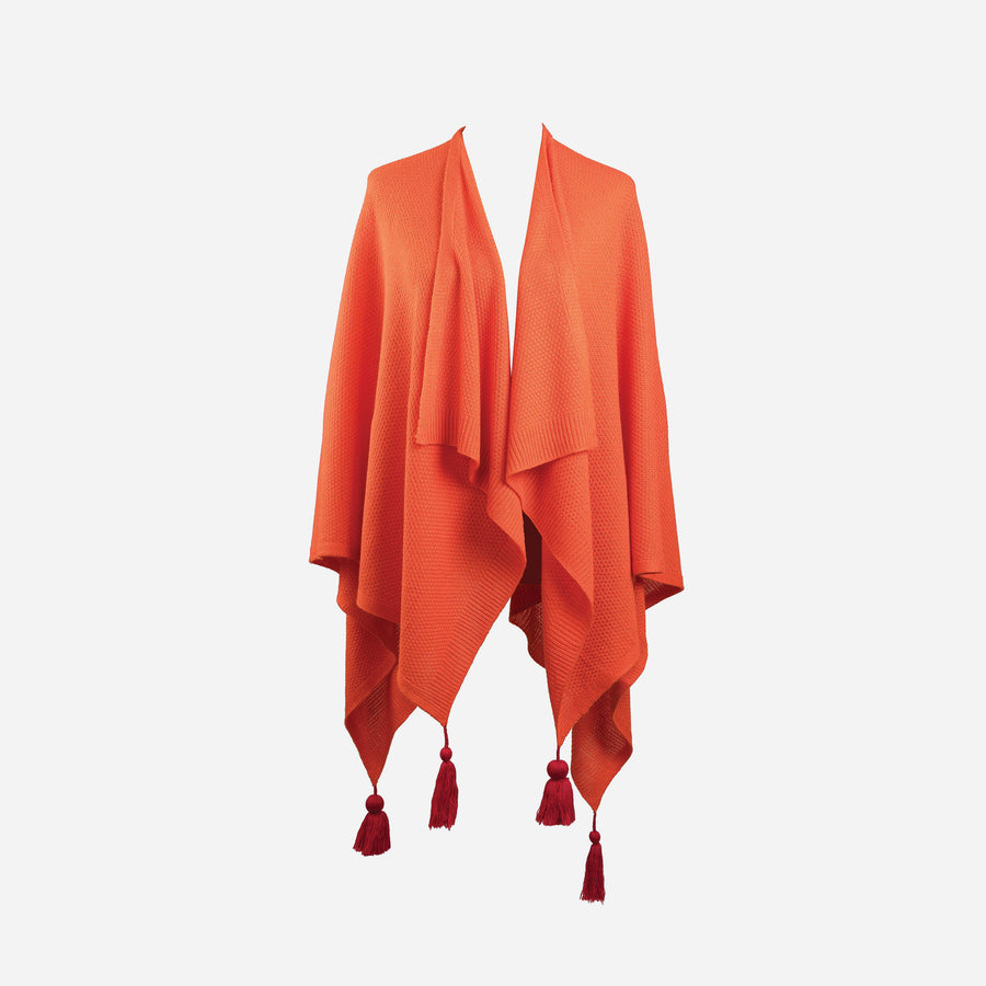 Poppy | Essential Travel Wrap Tassel Solid Color Ruana Poncho