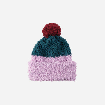 Lilac | Teddy Colorblocked Pom Hat Faux Fur