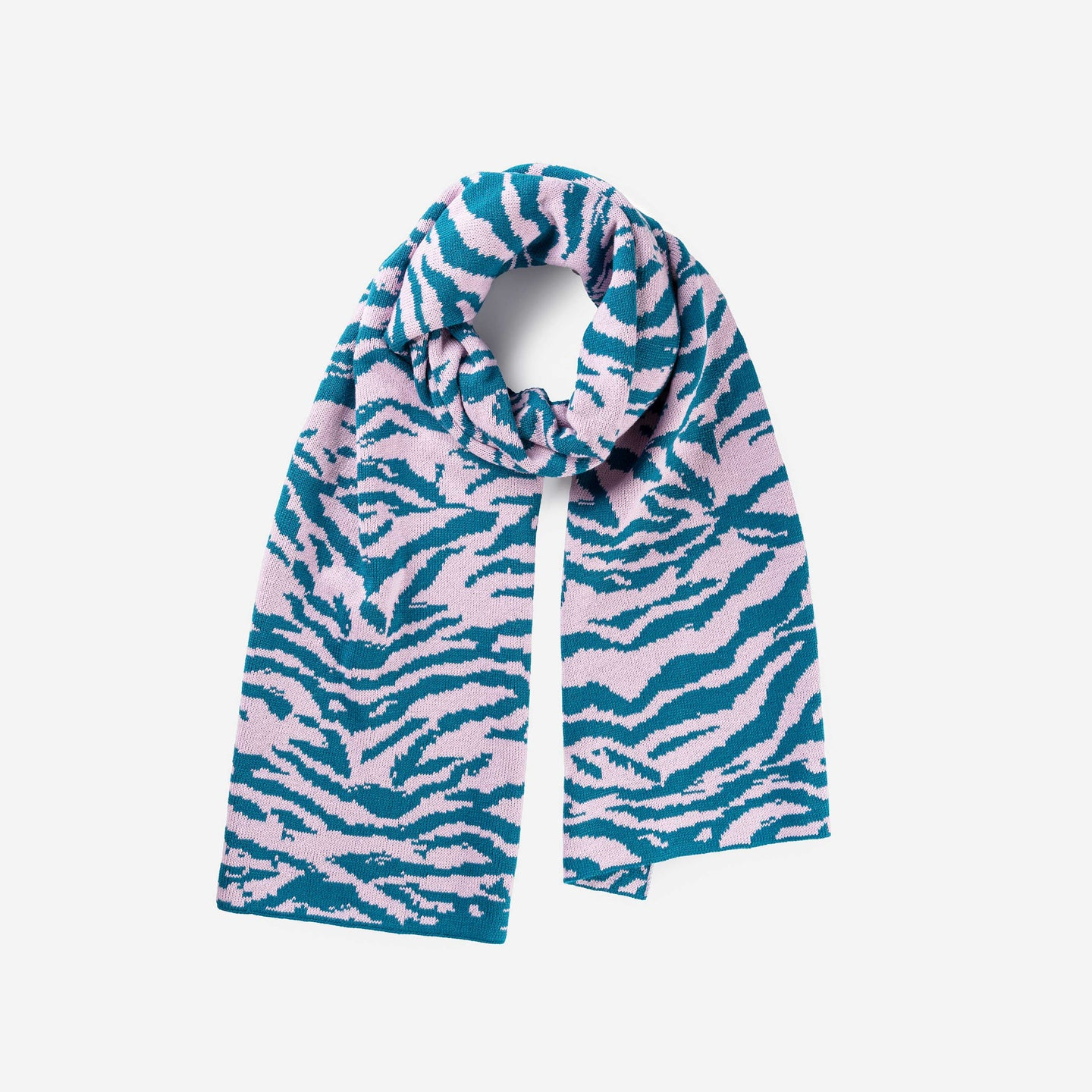 Tiger Stripe Scarf Jacquard Knit Pattern