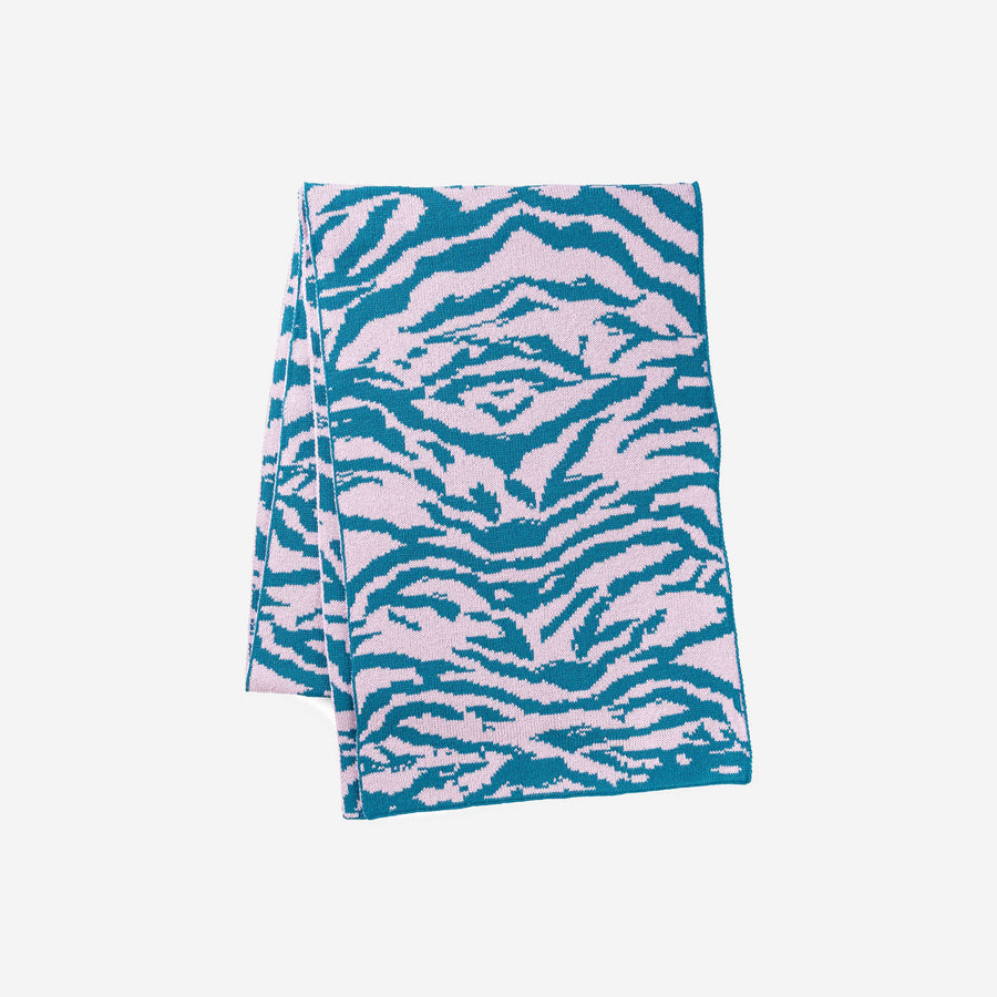 Teal | Tiger Stripe Scarf Jacquard Knit Pattern