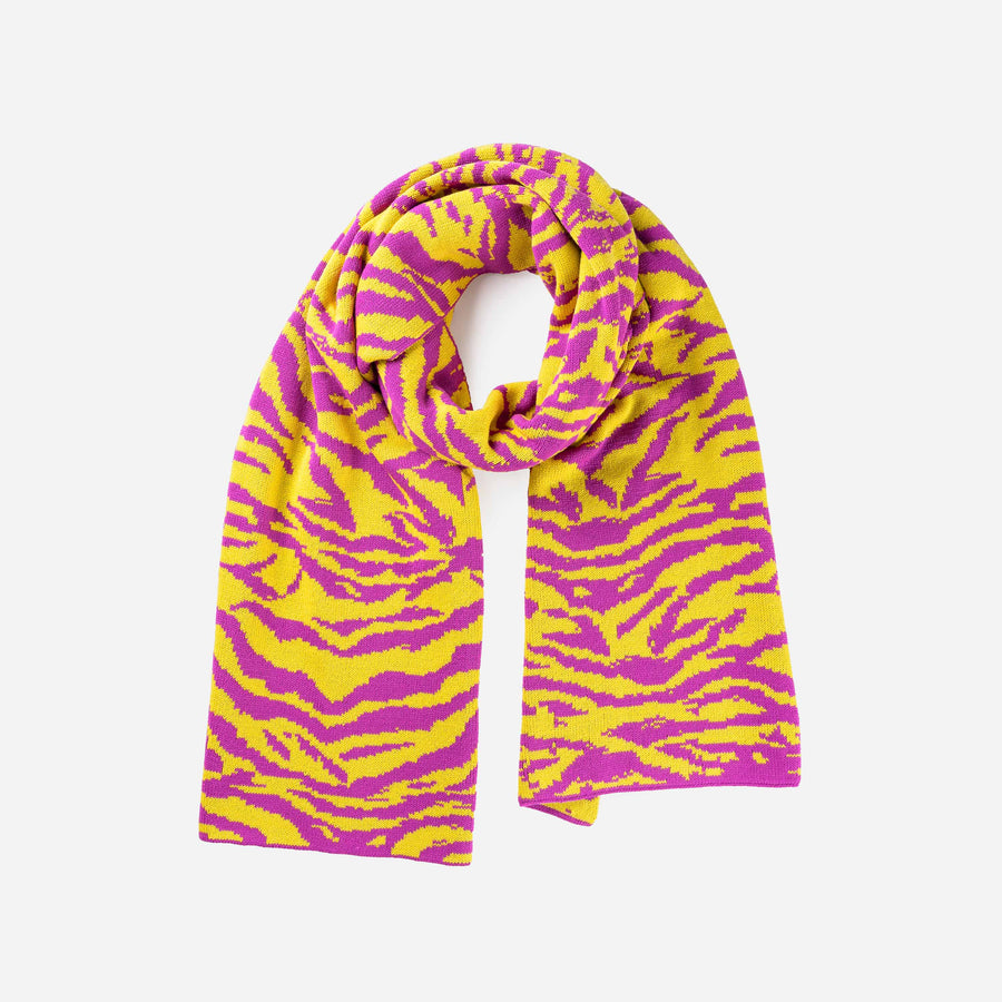 Yellow | Tiger Stripe Scarf Jacquard Knit Pattern