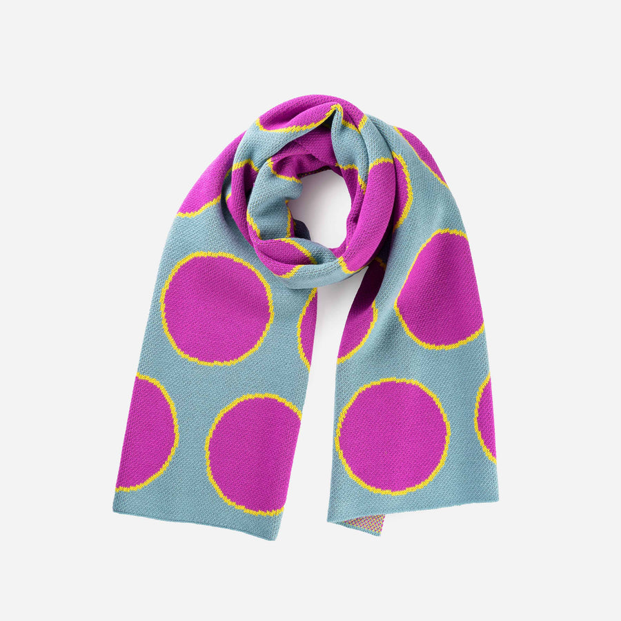 Stone Blue | Eclipse Dot Umbra Scarf Jacquard Polka Dot Pattern Large