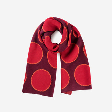Wine Red | Eclipse Dot Umbra Scarf Jacquard Polka Dot Pattern Large