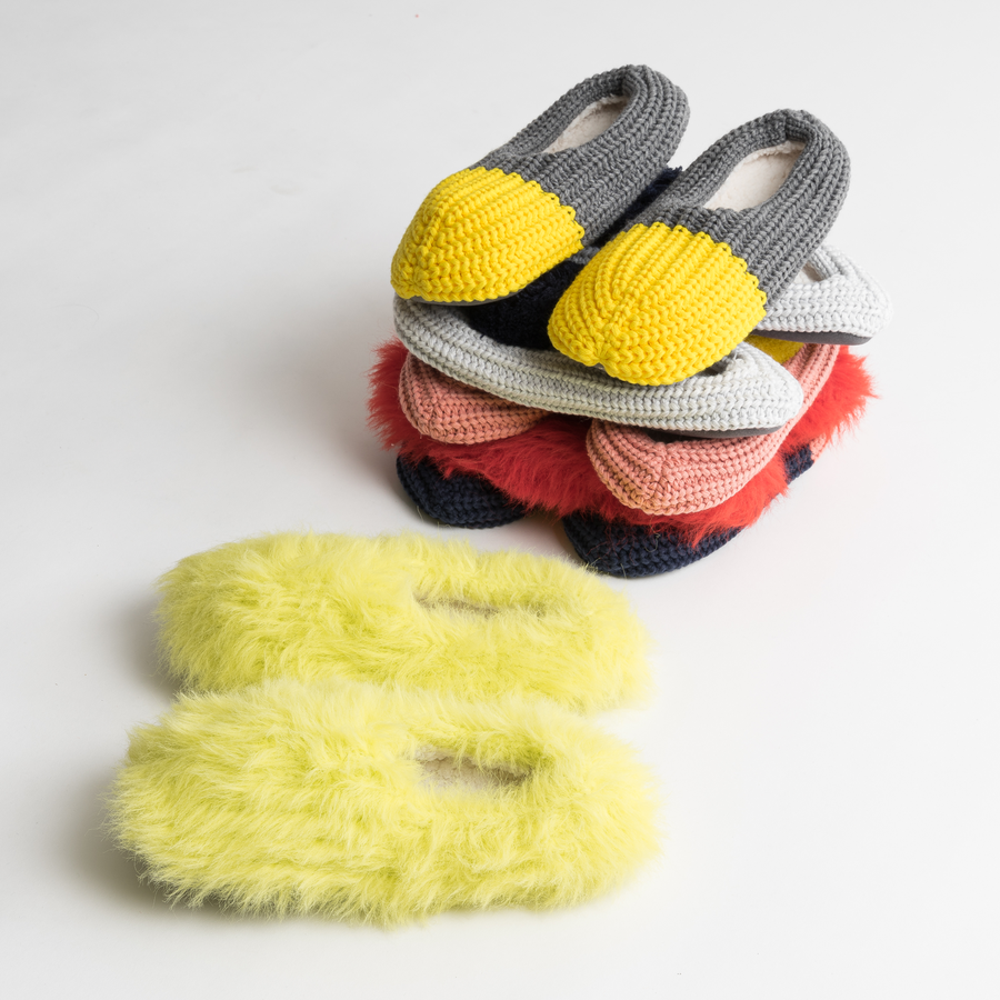 Lime | Faux Fur Slippers