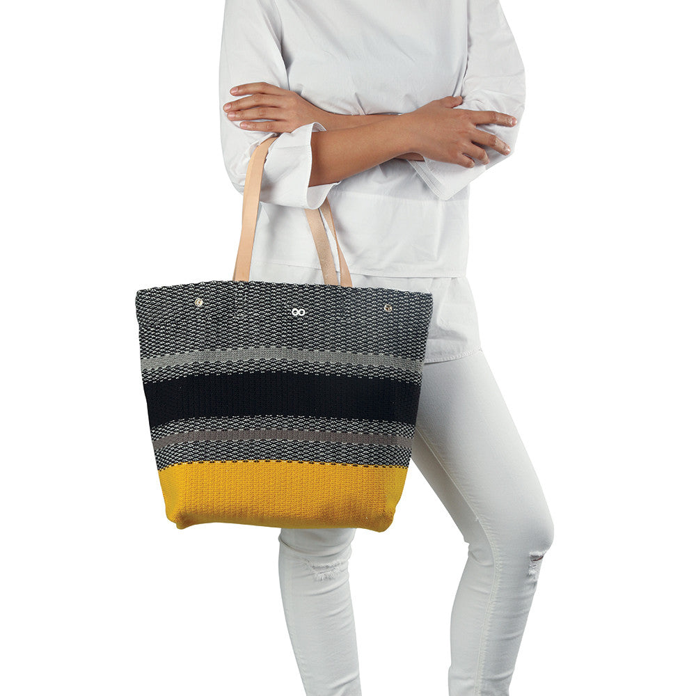Crosshatch Leather Tote
