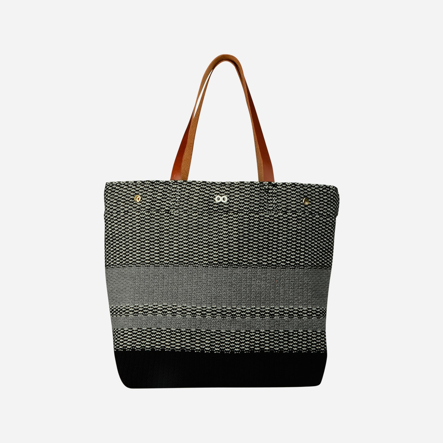 Crosshatch Leather Tote Snap