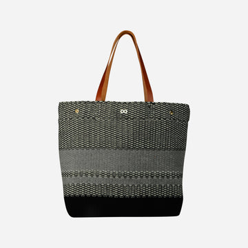 Black Grey | Crosshatch Leather Tote Snap