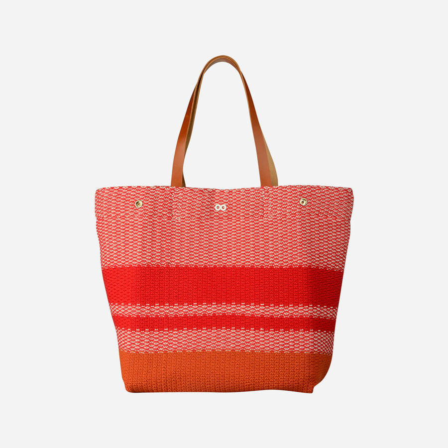 Red | Crosshatch Leather Tote Snap