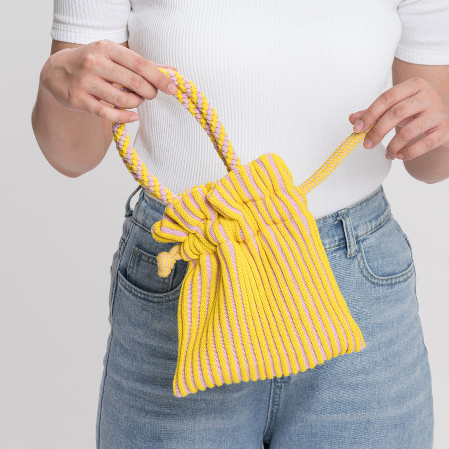 Lilac Yellow | Candy Stripe Mini Tote